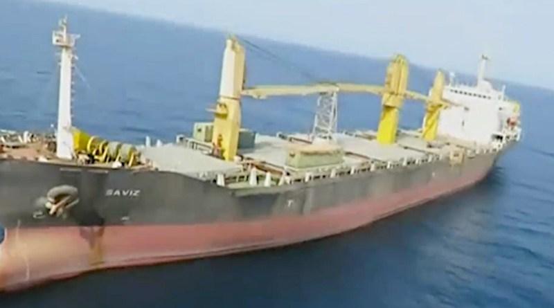 The Saviz was attacked off the coast of Eritrea. (Al Arabiya screengrab)