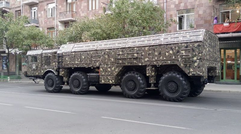 File photo of an Iskander missile of the Armenian army during a military parade in Yerevan. Photo Credit: Jonj7490, Wikipedia Commons