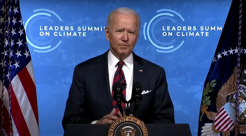 US President Joe Biden delivers remarks at Virtual Leaders Summit on Climate. Photo Credit: White House video screenshot