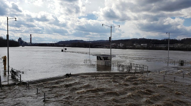 Flood waters force closure of the Locks and Dams 3 on the Monongahela River in Elizabeth, Pa., March 1, 2021. High water from snow melts and extended rain affected the U.S. Army Corps of Engineers Pittsburgh District on the Monongahela River. Photo Credit: DoD