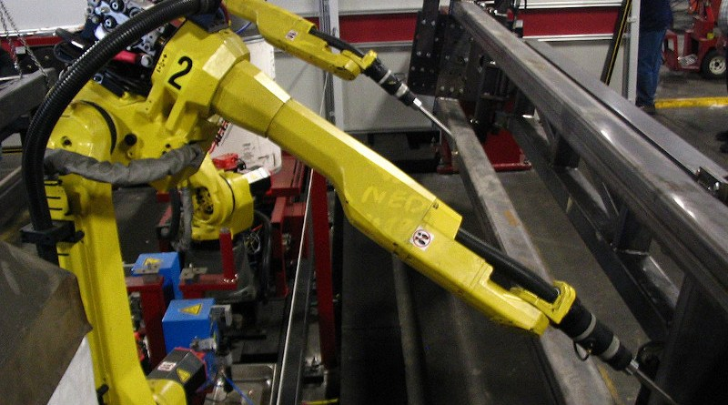 A set of six-axis robots used for welding. Photo Credit: Phasmatisnox, Wikimedia Commons