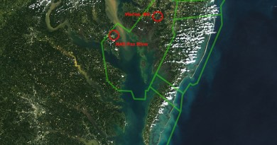 Conservation efforts in the Chesapeake Bay area focus, in part, on ensuring continued use of the Atlantic Test Ranges by the Navy at Naval Air Station Patuxent River, Md.. Rough outlines of those test ranges are highlighted in green. Credit: NASA