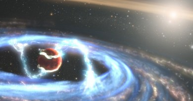 This illustration of the newly forming exoplanet PDS 70b shows how material may be falling onto the giant world as it builds up mass. By employing Hubble's ultraviolet light (UV) sensitivity, researchers got a unique look at radiation from extremely hot gas falling onto the planet, allowing them to directly measure the planet's mass growth rate for the first time. The planet PDS 70b is encircled by its own gas-and-dust disk that's siphoning material from the vastly larger circumstellar disk in this solar system. The researchers hypothesize that magnetic field lines extend from its circumplanetary disk down to the exoplanet's atmosphere and are funneling material onto the planet's surface. The illustration shows one possible magnetospheric accretion configuration, but the magnetic field's detailed geometry requires future work to probe. The remote world has already bulked up to five times the mass of Jupiter over a period of about five million years, but is anticipated to be in the tail end of its formation process. PDS 70b orbits the orange dwarf star PDS 70 approximately 370 light-years from Earth in the constellation Centaurus. CREDIT Credits: NASA, ESA, STScI, Joseph Olmsted (STScI)