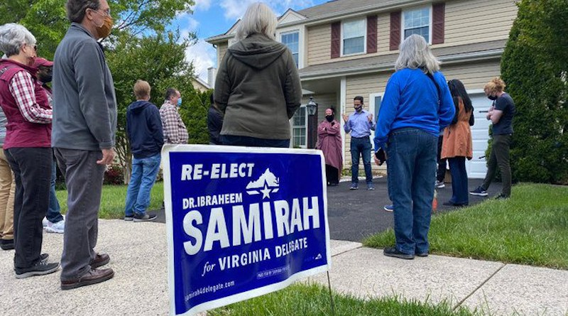 Ibraheem Samirah and his supporters campaigning in the US state of Virginia. (Twitter photo)