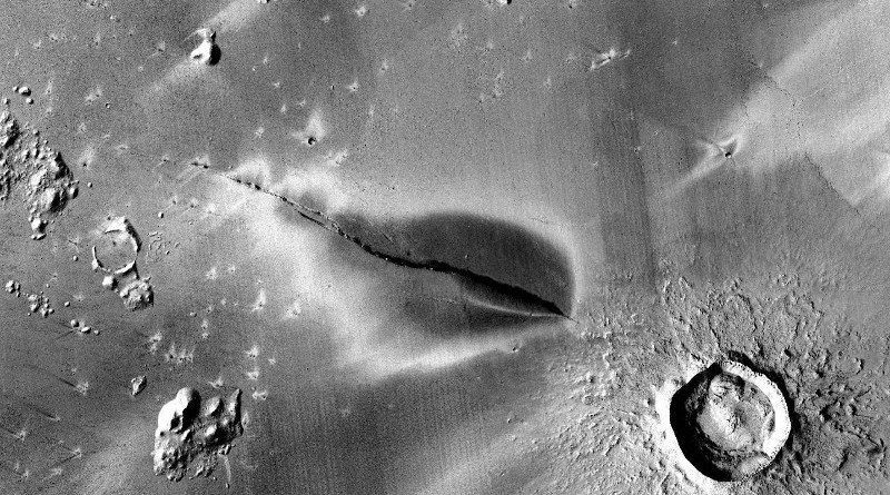 Recent explosive volcanic deposit around a fissure of the Cerberus Fossae system. CREDIT NASA/JPL/MSSS/The Murray Lab