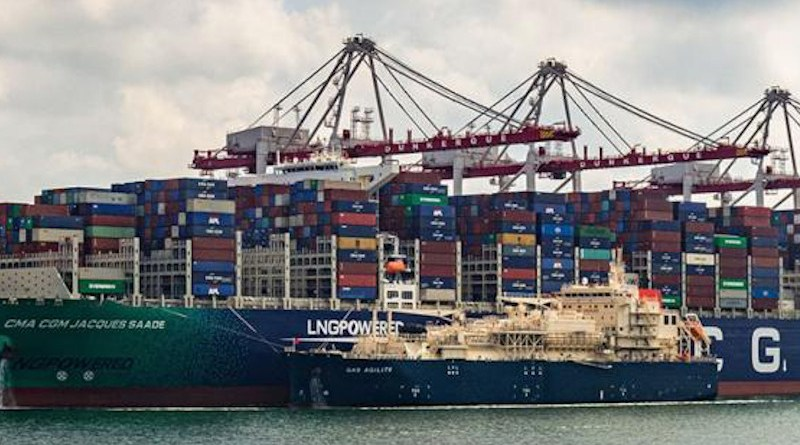 The world's largest containership powered by LNG, the CMA CGM JACQUES SAADE, being fuelled by Total's Gas Agility. Photo Credit: Total