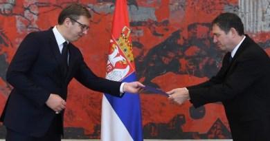 Serbia's President Aleksandar Vucic and Israeli ambassador in Belgrade Yahel Vilan. Photo: Israeli embassy in Belgrade