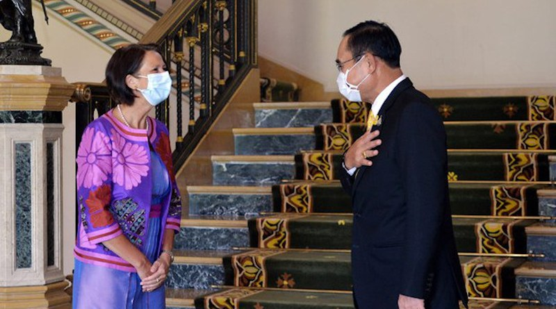 United Nations Special Envoy to Myanmar Christine Schraner Burgener (left), talks with Thai Prime Minister Prayuth Chan-o-cha during a meeting at Government House in Bangkok, May 14, 2021. [Handout from Thai Government Spokesman's Office]