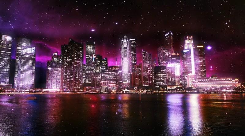 City Urban Lights Water Sky Space Stars