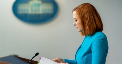 White House Press Secretary Jen Psaki pauses for a moment as she addresses reporters in the James S. Brady Press Briefing Room of the White House. (Official White House Photo by Cameron Smith)