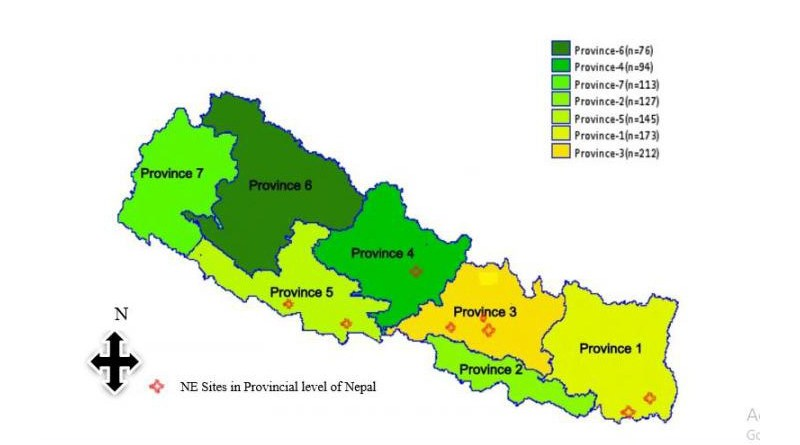 Location of Nutrient Expert-Rice trial sites in the Terai and mid-hills regions of Nepal. CREDIT © Amgain Lal Prasad