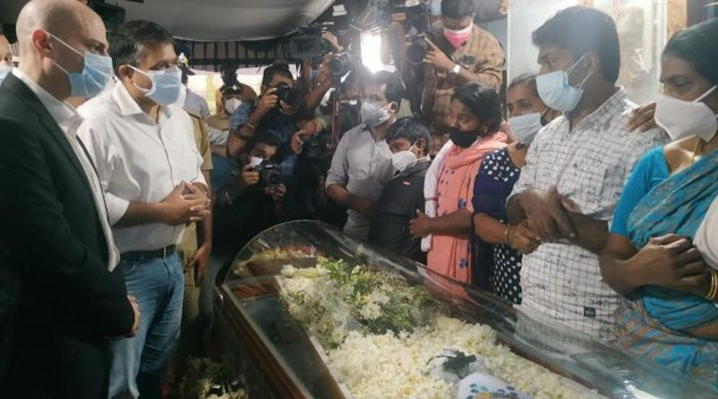 Jonathan Zadka, Israel's Consul General to south India, also attended the funeral. (Photo supplied)
