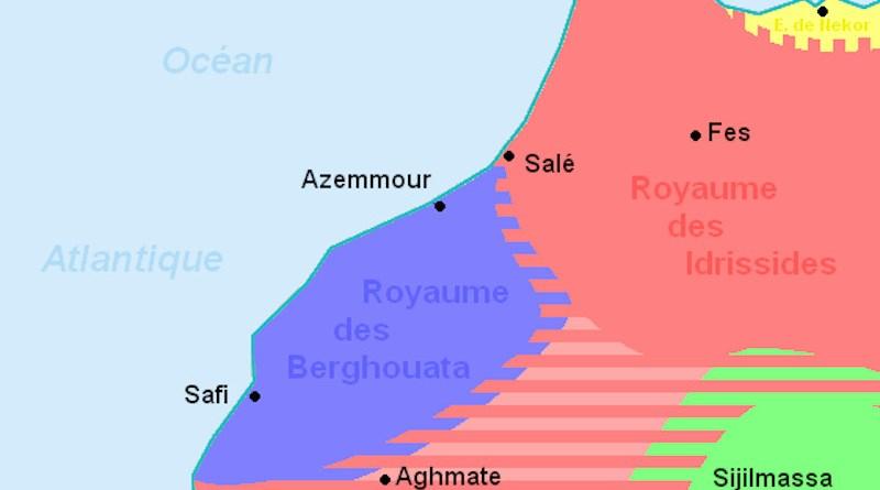 Barghawata Confederacy (blue). Credit: Wikipedia Commons