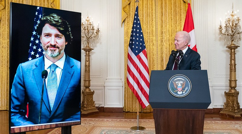 President Joe Biden delivers a virtual joint press statement with Canadian Prime Minister Justin Trudeau Tuesday, Feb. 23, 2021, in the East Room of the White House. (Official White House Photo by Adam Schultz)