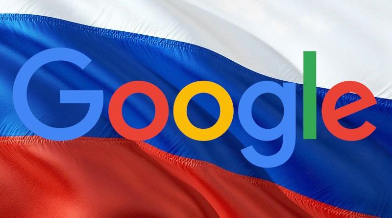 Russia flag and Google logo