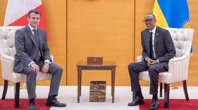 French President Emmanuel Macron meets with Rwanda's President Paul Kagame. Photo Credit: Rwanda Government