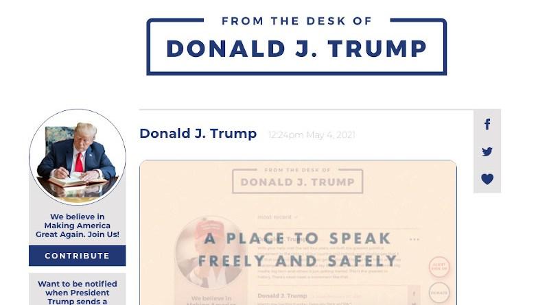 A screenshot from https://www.donaldjtrump.com/desk