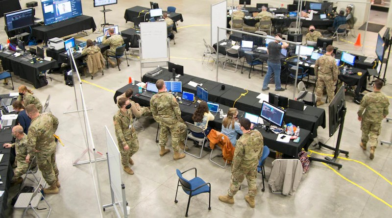 Service members man the operations center for Exercise Locked Shields 21, Morgantown, W. Va., April 14, 2021. Photo Credit: Army Chief Warrant Officer 2 Jeremiah Bennett