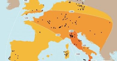 Map showing the spread of weighing technology in Bronze Age Europe (c. 2300-800 BC) CREDIT N Ialongo