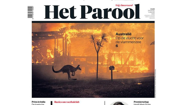 Het Parool front page featuring photo by Photojournalist Matthew Abbott CREDIT QUT