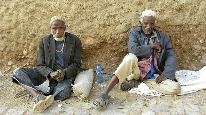 Harari men consuming khat in the street of Harar, Ethiopia. Photo Credit: Italian boy, Wikipedia Commons