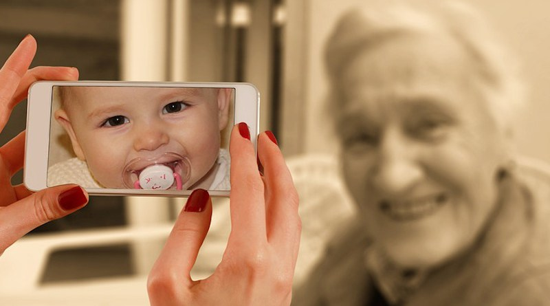 Smartphone Face Woman Old Baby Young Child Youth