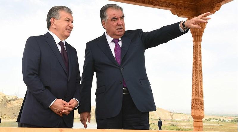Uzbekistan President Shavkat Mirziyoyev with Tajikistan President Emomali Rahmon. Photo Credit: Tajik presidential administration