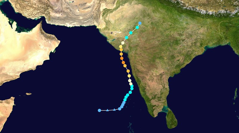 Map plotting the track and the intensity of Cyclone Tauktae, according to the Saffir–Simpson scale. Credit: Wikipedia Commons