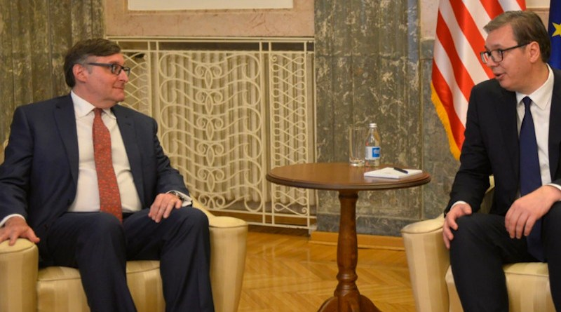 U.S. Deputy Assistant Secretary of State Matthew Palmer (left) and Serbian President Aleksandar Vucic in Belgrade on June 3. Photo Credit: Vesna Andjic/ RFE/RL