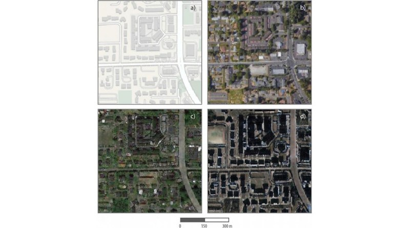 Researchers combined satellite images of Tacoma, Washington, with Seattle and Beijing to create a composite image, and then identified differences between the false and true images. CREDIT Chengbin Deng