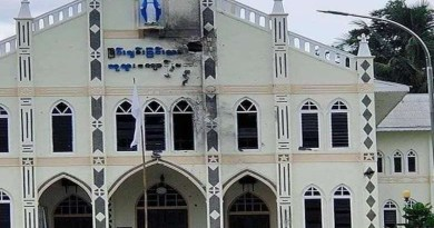 Our Lady, Queen of Peace Church in Demoso township was damaged by military shelling on June 6. (Photo: CJ)