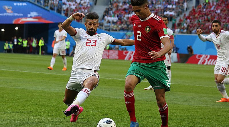 Achraf Hakimi (right) playing for Morocco at the 2018 FIFA World Cup. Photo Credit: Кирилл Венедиктов, Wikipedia Commons