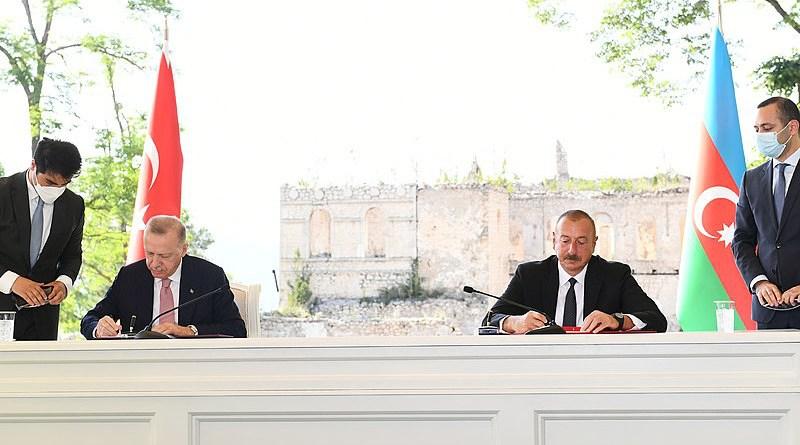 President of Azerbaijan Ilham Aliyev and Turkey's President Recep Tayyip Erdogan sign Shusha Declaration on allied relations. Photo Credit: President.az