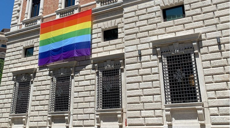 The U.S. Embassy to the Holy See celebrates Pride Month with the Pride flag on display during the month of June. Photo Credit: U.S. Embassy to the Holy See/Twitter