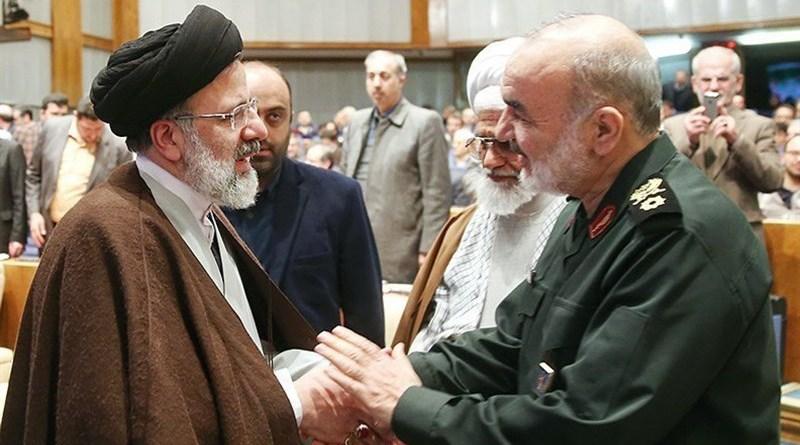 Commander of the Islamic Revolution Guards Corps Major General Hossein Salami (right) with Iran's Ebrahim Raeisi. Photo Credit: Tasnim News Agency