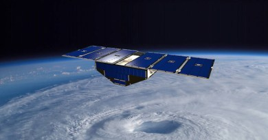 llustration of one of the eight CYGNSS satellites in orbit above a hurricane. Credits: NASA