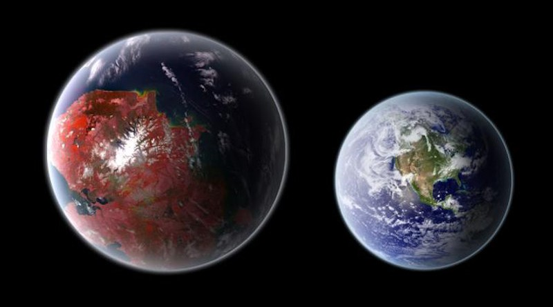 An artistic representation of the potentially habitable planet Kepler 422-b (left), compared with Earth (right). CREDIT Ph03nix1986 / Wikimedia Commons