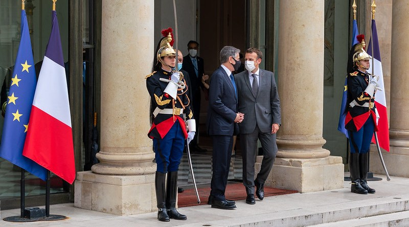 Secretary of State Antony J. Blinken meets with French President Emmanuel Macron, in Paris, France on June 25, 2021. [State Department Photo by Ron Przysucha/ Public Domain]