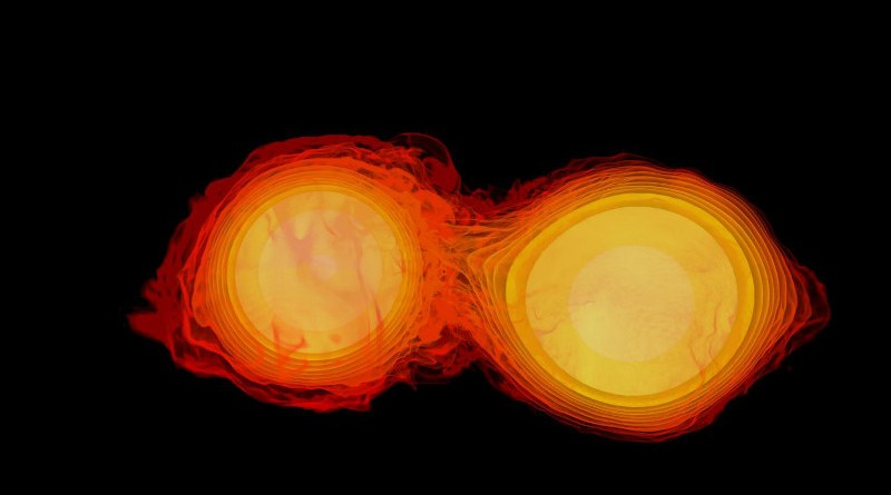 An image of two neutron stars colliding. CREDIT Image: NASA
