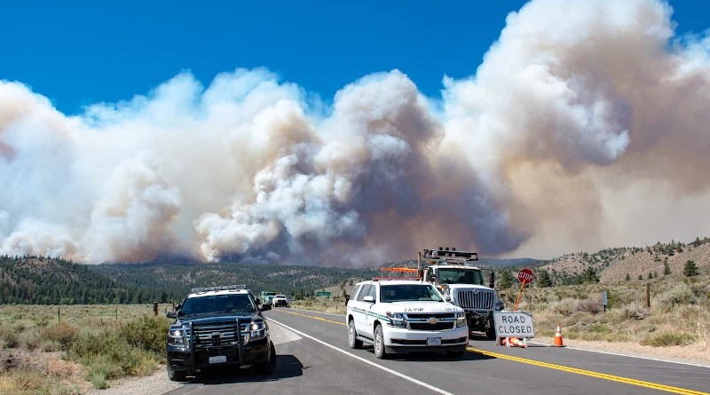 California Highway Patrolman and CalTrans employees provide road closure and safe entry and access for the firefighters and other resources in the area of the Beckwourth Complex Fire near Frenchman Lake in northern California, July 8, 2021. Photo Credit: DoD