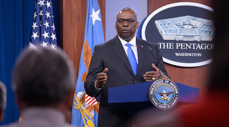 US Secretary of Defense Lloyd J. Austin III speaks during a news conference at the Pentagon. Photo Credit: Air Force Staff Sgt. Brittany A. Chase, DOD