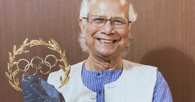 Professor Muhammad Yunus holding the Olympic Laurel. Photo Credit: Lamiya Morshed/Yunus Centre