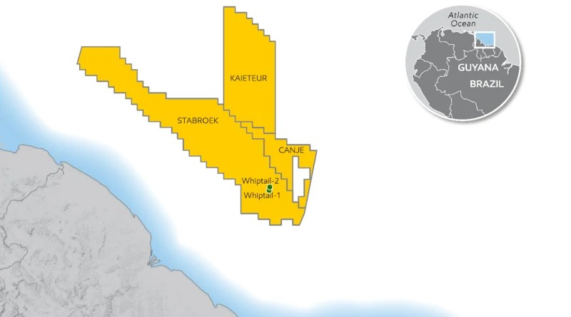 Location of Whiptail in the Stabroek Block offshore Guyana. Credit: ExxonMobil