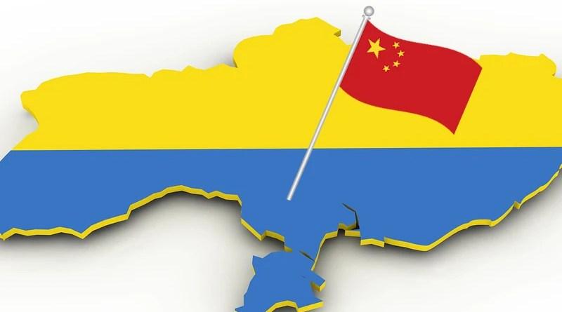 china flag ukraine map