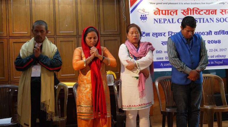 Nepali Christians pray during a program organized by Nepal Christian Society. Churches in Nepal are struggling due to the deaths of some 130 pastors and a financial crisis from the Covid-19 pandemic. (Photo: Nepal Christian Society)