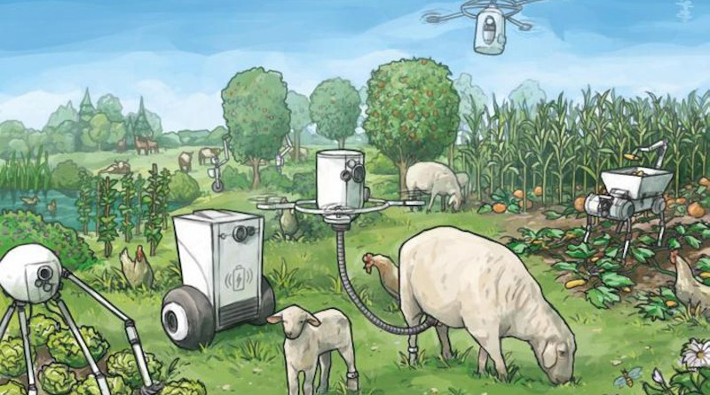 This illustration shows the utopian farm robot scenario CREDIT Natalis Lorenz