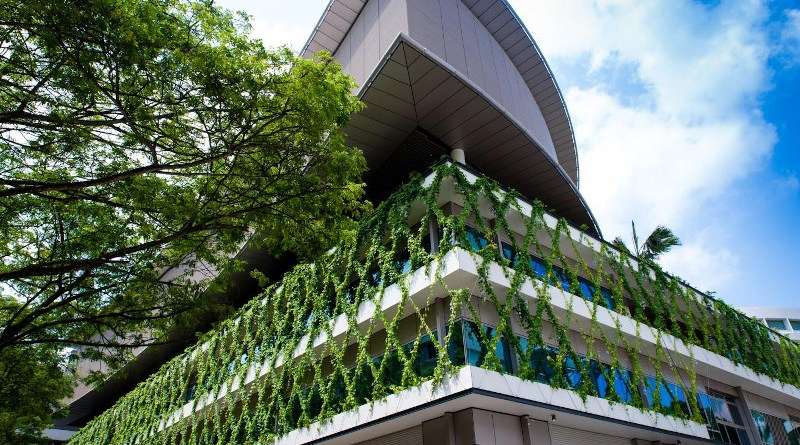Vertical greenery 'planted' on the exterior of the NTU learning hub, The Arc, a six-storey building with smart classrooms. CREDIT NTU Singapore
