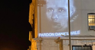 Detail of an image of Daniel Hale projected on a D.C. building on June 26, 2021. Photo credit: Nick Mottern