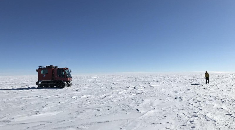 NASA researchers on the surface of the Antarctic Ice Sheet as part of the 88-South Traverse in 2019. The 470-mile expedition in one of the most barren landscapes on Earth provides the best means of assessment of the accuracy of data collected from space by the Ice Cloud and land Elevation Satellite-2 (ICESat-2). CREDIT Credit: NASA's Goddard Space Flight Center/Dr. Kelly Brunt