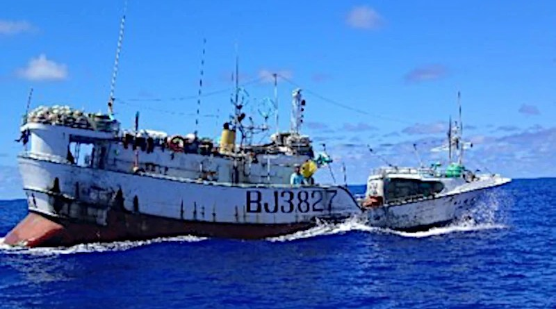 The U.S. Coast Guard Cutter Stratton conducts a fisheries law enforcement boarding on a Chinese Taipei-flagged fishing vessel on the high seas of the Western Pacific in late October 2019. Photo Credit: U.S. Coast Guard